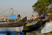 Canoes At The Chinese Fishing Nets